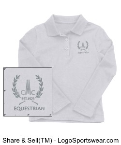 Girls Long sleeved White Cotton Polo Design Zoom