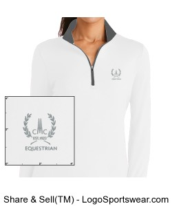 Ladies Nike Dri-Fit Long Sleeved White Shirt with gray collar Design Zoom